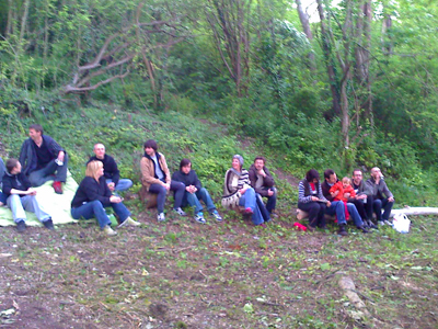 The audience at Moulsecoomb allotments.